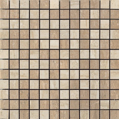 Travertini Polished 1X1 Mosaic Floor and Wall Tile 12X12 Noce/Cream (1 Piece)